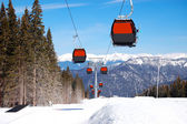 Cableway cabins at the popular ski resort in Slovakia — Stock Photo