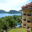 Building and the beach on turkish resort, Marmaris, Turkey — Stock Photo