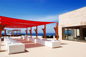 Outdoor terrace at the modern luxury hotel, Crete, Greece — Stock Photo
