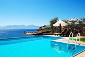 Swimming pool at luxury villa, Crete, Greece — Stock Photo
