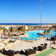 Panorama of the beach at luxury hotel, Sharm el Sheikh, Egypt — Stock Photo