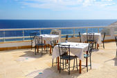 The sea view outdoor terrace of restaurant at luxury hotel, Shar — Stock Photo