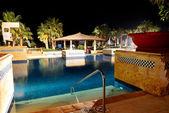 Swimming pool in night illumination at the luxury hotel, Sharm e — Stock Photo