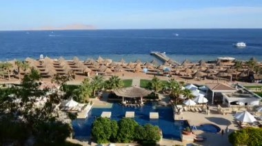 Timelaps of the beach at luxury hotel, Sharm el Sheikh, Egypt — Stock video