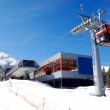 The cableway station at popular ski resort and slope — Stock Photo