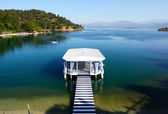 Relaxation building near beach on Turkish resort, Fethiye, Turke — Stock Photo