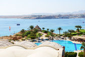 The beach at luxury hotel, Sharm el Sheikh, Egypt — Stock Photo