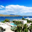 The beach on Aegean Turkish resort, Bodrum, Turkey — Stock Photo #38496783