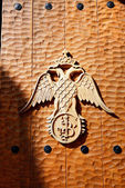 The emblem on the gate of Varlaam monastery, Meteora, Greece — Stock Photo