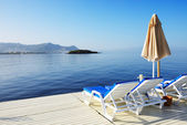 Beach on Turkish resort, Bodrum, Turkey — Stockfoto