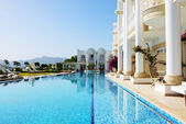 Swimming pool at luxury villa, Bodrum, Turkey — Stock Photo