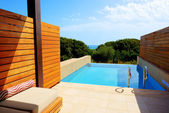 Swimming pool by luxury sea view villa, Peloponnes, Greece — Stock Photo