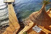 Beach at the luxury hotel, Sharm el Sheikh, Egypt — Stock Photo