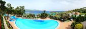 Panorama of the beach at luxury hotel, Bodrum, Turkey — Stock Photo
