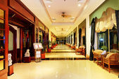 The entrance in restaurant and interior of luxury hotel with wor — Stock Photo