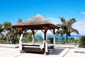 Hut near beach and swimming pool, Tenerife island, Spain — Stock Photo