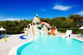 Aqua park with water slides in luxury hotel, Antalya, Turkey — Stock Photo