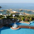 The swimming pool near beach at the luxury hotel, Antalya, Turkey — Stock Video #45631957