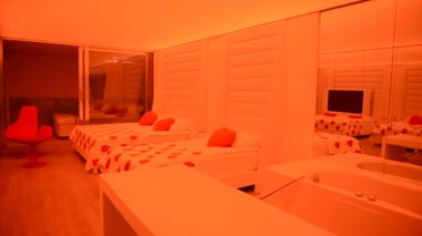 The apartment of modern luxury hotel with changing illumination, Antalya, Turkey — Stock Video
