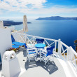 The sea view terrace at luxury hotel, Santorini island, Greece — Stock Photo #47574075
