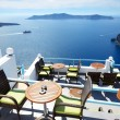 The sea view terrace at luxury hotel, Santorini island, Greece — Stock Photo #47983707