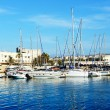The yachts and motor boats are near pier, Crete, Greece — Stock Photo #48667499