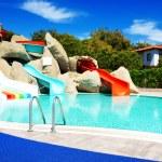 Aqua park with water slides in luxury hotel, Antalya, Turkey — Stock Photo #49411841