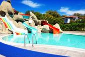Aqua park with water slides in luxury hotel, Antalya, Turkey — Stok fotoğraf