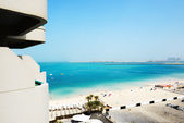 The view from balcony on beach and Jumeirah Palm man-made island — Stock Photo