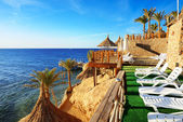 Pláž na luxusní hotel, sharm el sheikh, egypt — Stock fotografie