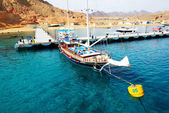 SHARM EL SHEIKH, EGYPT -  DECEMBER 4: The sail yacht with touris — Foto Stock