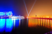 Night illumination of the luxury hotel on Palm Jumeirah man-made — Stock Photo