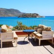 Sea view terrace at luxury hotel with a view on Spinalonga Islan — Stock Photo