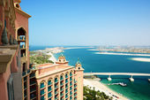 The view on Jumeirah Palm man-made island, Dubai, UAE — Stock Photo