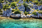 Ruins on on the shores of Kekova Island, Turkey — Stock Photo