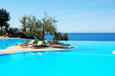 Infinity swimming pool with olive tree in the middle at the mode — Stock Photo