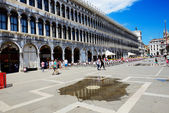 VENICE, ITALY - JUNE 16: The flooding of St Mark's Square and to — Stock Photo