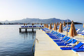 Beach on Turkish resort, Bodrum, Turkey — Stock Photo