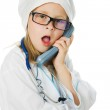 Cute little girl is playing doctor — Stock Photo #12732275