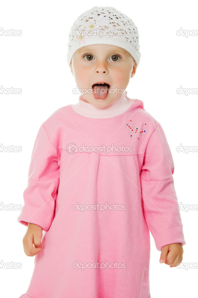 Portrait of adorable  girl showing tongue on the white background. — Stock Photo #12731196