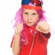 Little child threatens with a fist — Stock Photo #12825866