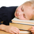 Girl asleep on the books. — Stock Photo