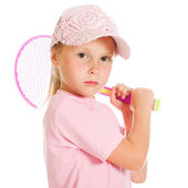 Little girl with plays tennis — Stock Photo