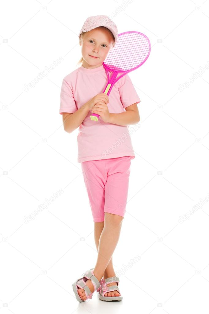 Little girl with plays tennis  on a white background — Stock Photo #12826026