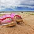 Pink slippers on sandy beach — Stock Photo #12830695