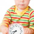 Stock Photo: Little cute baby with clock