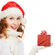 Stock Photo: Attractive womin Christmas presents gift