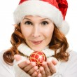 Beautiful woman hat as Santa — Stock Photo