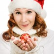 Beautiful woman hat as Santa — Stock Photo #13683605