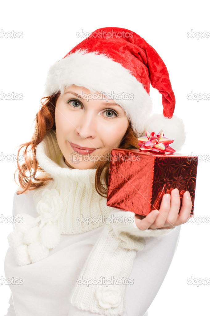 Attractive woman in Christmas presents gift, on a white background. — Stock Photo #13683473
